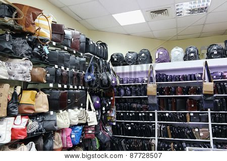 Shop With Shelves With Many Various Fashionable Men And Woman Bags And Backpacks
