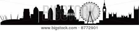 Detailed silhouette of london skyline