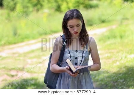 Beautiful Girl In Dress Walking On Glade Reading Book On Sunny Summer Day