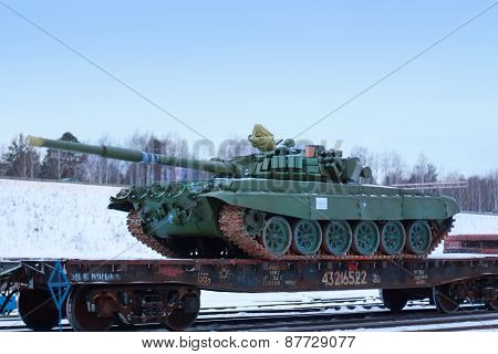 Perm, Russia - Dec 4, 2013: T-72B3 On Train Platform. T-72B3 - Russian Main Battle Tank T-72 Family