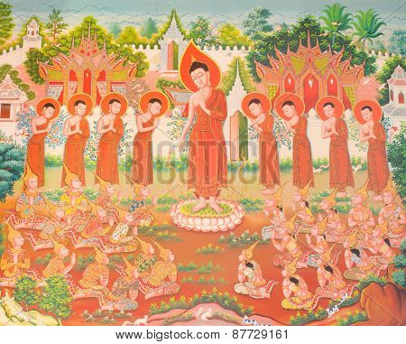Mural Mythology Buddhist Religion On Wall In Wat Neramit Vipasama, Dansai, Loei, Thailand