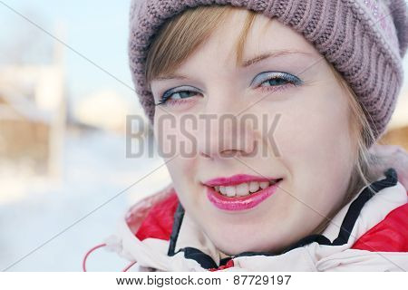 Close Up Portrait Of Young Beautiful Woman Standing Outdoor At Winter Day
