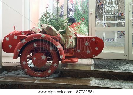Perm, Russia - Jan 11, 2013: Motorcycle Near Shop Fashionable People. Fashionable People - First Mul
