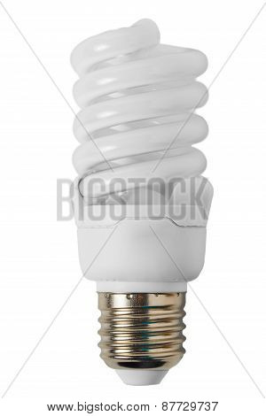 Energy Saving Light Bulb In The Form Of A Spiral Close-up