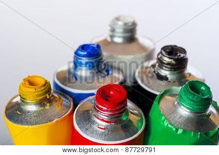 Fresh Vibrant Colors In Tubes On A White Background