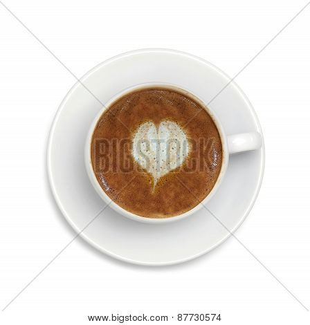 Espresso Coffee With Heart Symbol Isolated On White