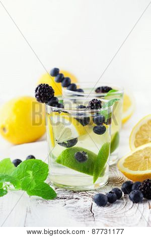 Lemonade In A Glass With Mint