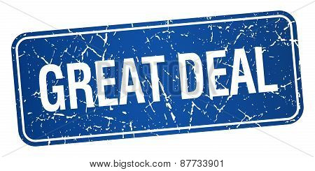Great Deal Blue Square Grunge Textured Isolated Stamp