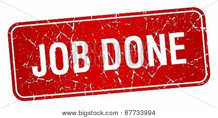 Job Done Red Square Grunge Textured Isolated Stamp