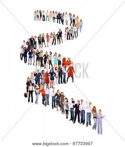 People in Queue Isolated over White