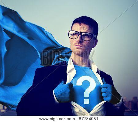 Strong Superhero Businessman Question Mark Concept