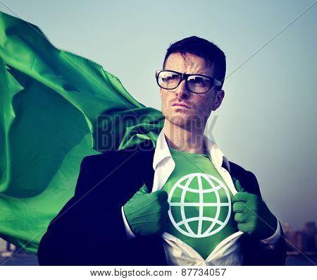 Strong Superhero Businessman Global Concept