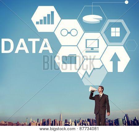 Data Statistics Information Business Bar Graph Concept