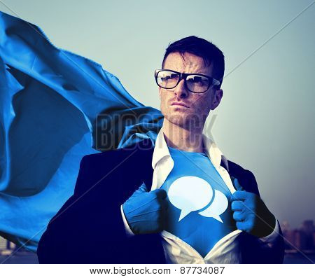Speech bubbles Strong Superhero Success Professional Empowerment Stock Concept