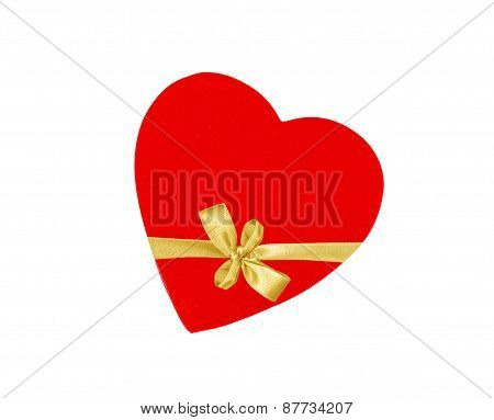 Cardboard Heart Bandaged Golden Ribbon Bow Isolated On White Background