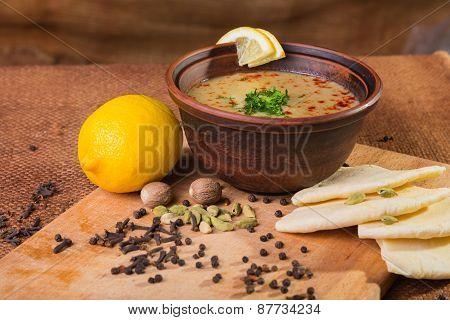 Delicious soup. Beautiful bowl of soup