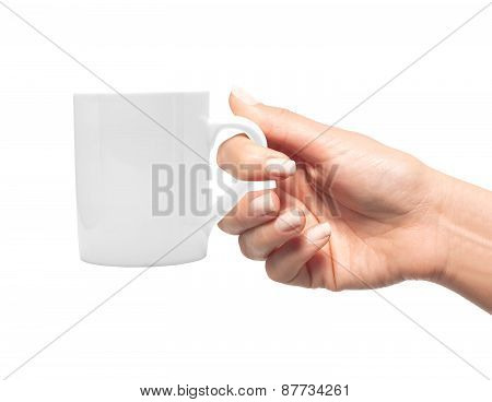 Woman Hand With White Cup Of Coffee