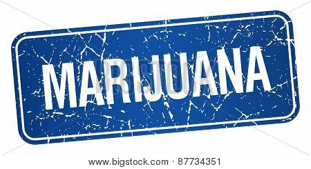 Marijuana Blue Square Grunge Textured Isolated Stamp