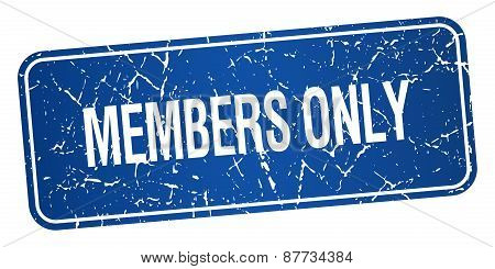 Members Only Blue Square Grunge Textured Isolated Stamp