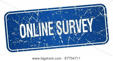 Online Survey Blue Square Grunge Textured Isolated Stamp
