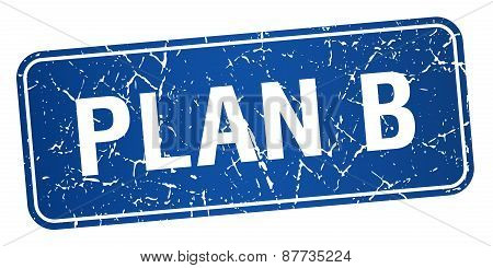 Plan B Blue Square Grunge Textured Isolated Stamp