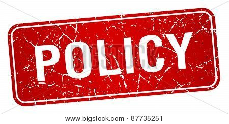 Policy Red Square Grunge Textured Isolated Stamp