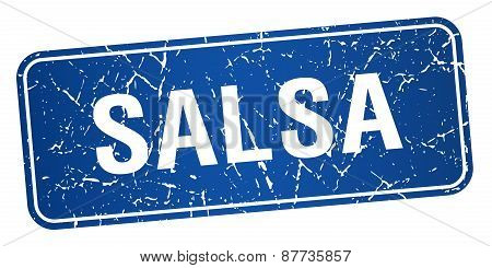 Salsa Blue Square Grunge Textured Isolated Stamp