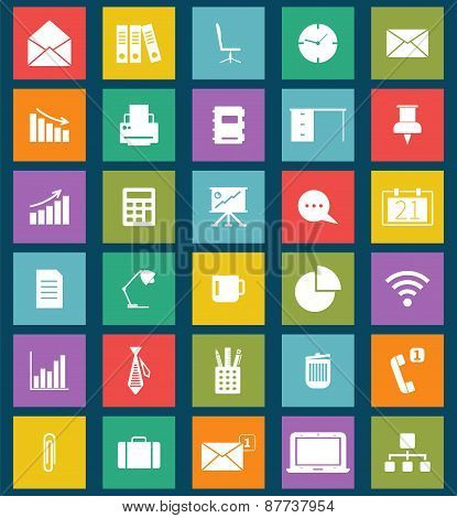 Business and office Flat icons for Web and Mobile Apps. Can be used as elements in infographics, log