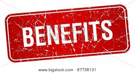 Benefits Red Square Grunge Textured Isolated Stamp