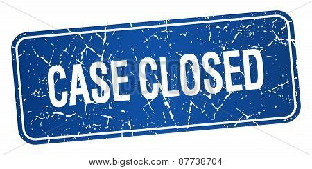 Case Closed Blue Square Grunge Textured Isolated Stamp