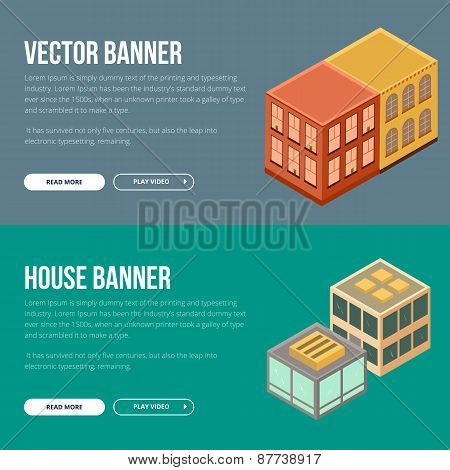 Estate vector banner with houses.