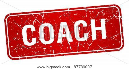 Coach Red Square Grunge Textured Isolated Stamp