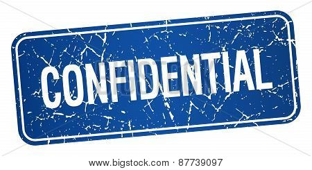 Confidential Blue Square Grunge Textured Isolated Stamp