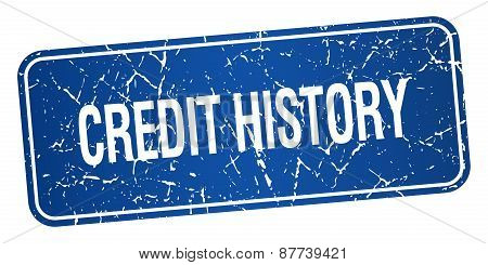 Credit History Blue Square Grunge Textured Isolated Stamp