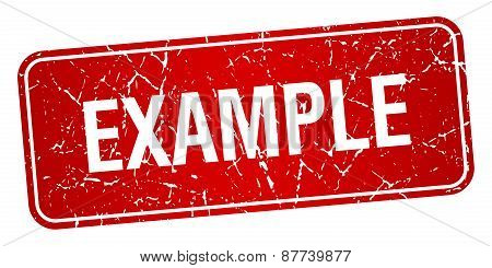 Example Red Square Grunge Textured Isolated Stamp