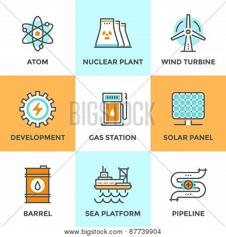 Global Energy Sources Line Icons Set
