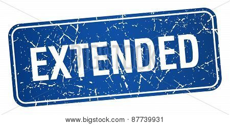 Extended Blue Square Grunge Textured Isolated Stamp