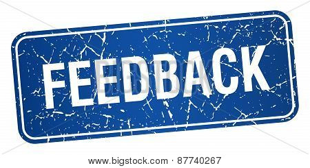 Feedback Blue Square Grunge Textured Isolated Stamp