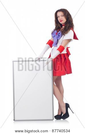 Woman with poster isolated on white