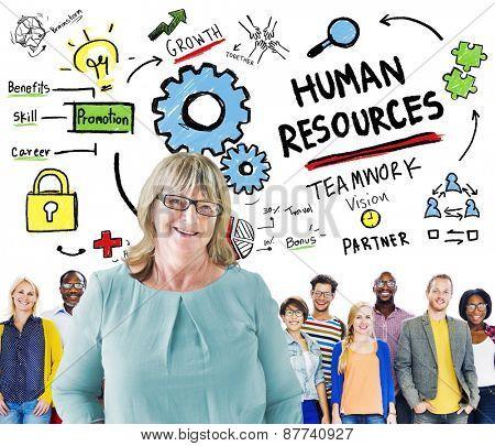 Human Resources Employment Job Teamwork People Leadership Concept
