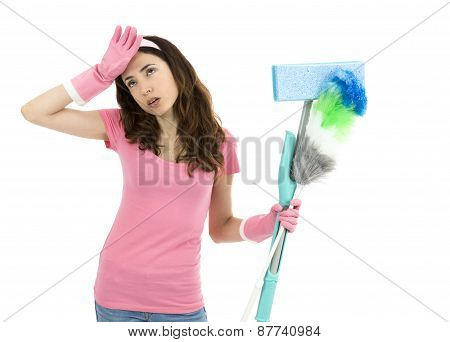 Tired Cleaning Woman