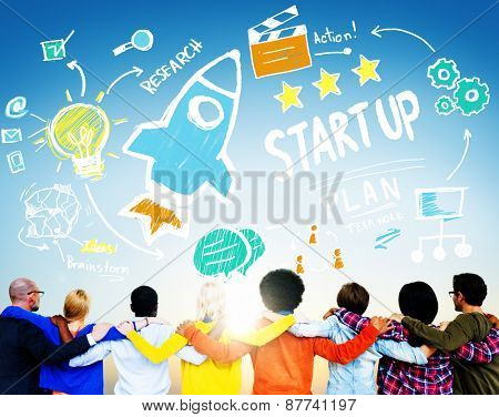 Start Up Business Launch Success People Friendship Concept