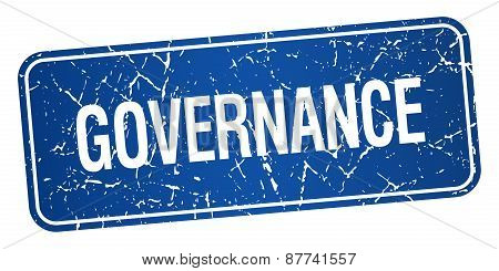 Governance Blue Square Grunge Textured Isolated Stamp