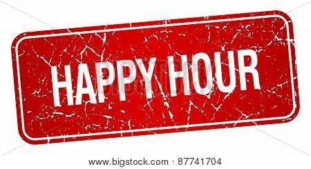 Happy Hour Red Square Grunge Textured Isolated Stamp