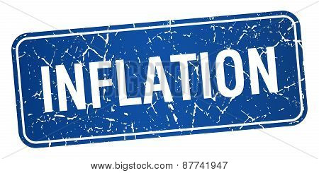 Inflation Blue Square Grunge Textured Isolated Stamp