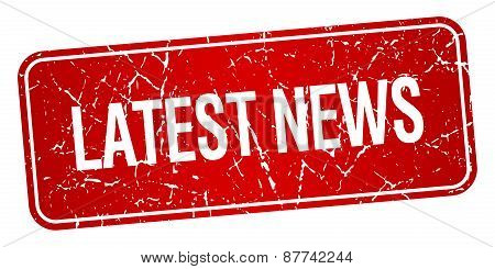 Latest News Red Square Grunge Textured Isolated Stamp