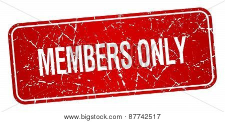 Members Only Red Square Grunge Textured Isolated Stamp