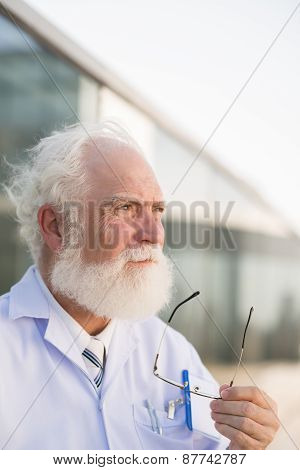 Gray-haired doctor