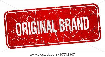 Original Brand Red Square Grunge Textured Isolated Stamp