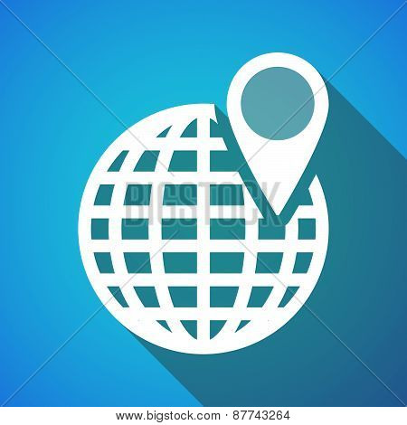 Long Shadow World Globe Icon